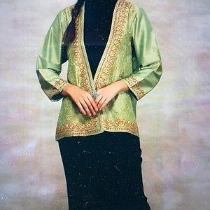 Mint green chandor front open jacket
